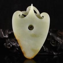 Hollowly Hand Carved Chinese Natural Hetian Jade Pendant w Fortune Beast