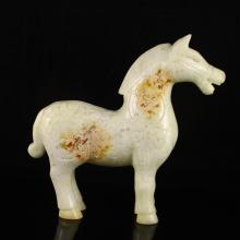 Hand-carved Chinese Natural Jade Statue - Horse