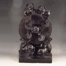 Hand-carved Chinese Natural Black Sandalwood Statue - Five Fortune Pig