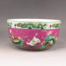 Hand-painted Chinese Gold-plating Famille Rose Porcelain Bowl w Qian Long Mark
