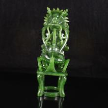 Superb Hollow Out Carved Chinese Natural Green Hetian Jade Statue - Dragon & Ball