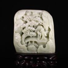 Hand Carved Chinese Natural Hetian Jade Statue w Old Man & Pine Tree