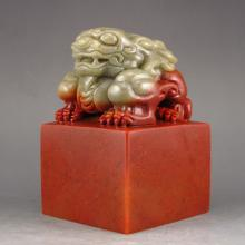 Hand-carved Chinese Shoushan Stone Seal / Stamp Statue w Fortune Beast