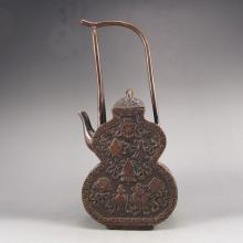 Chinese Bronze Wine Pot w Lucky Design & Qian Long Mark