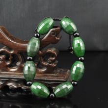 Hand-carved Chinese Natural Green Hetian Jade Bracelet