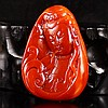 Superb Color Hand Carved Chinese Natural Nan Hong Agate Pendant w Kwan-yin