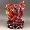 Superb Color Hand Carved Chinese Natural Agate Statue w Dragon & Phoenix