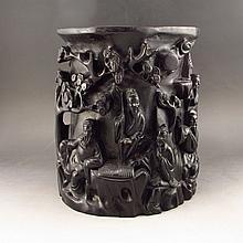 Hand Carved Chinese Natural Black Sanders Brush Pot w Old Man & Pine Tree