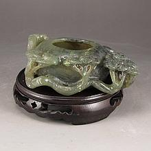 Vintage Hand Carved Chinese Natural Hetian Jade Pine Tree Brush Washer