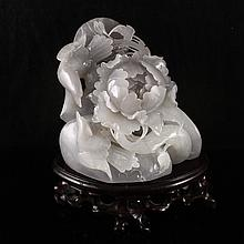 Superb Hand Carved Chinese Natural Hetian Jade Statue - Magpies & Peony