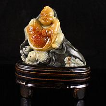 Hand Carved Chinese Natural Shoushan Stone Statue w Fortune Kid & Fishes