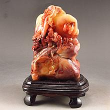Superb Hand Carved Chinese Natural Shoushan Stone Statue w Sages & Pine Tree