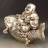 Chinese White Copper Statue - Laughing Buddha & Fish