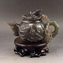 Hand Carved Chinese Natural Hetian Jade Teapot w Plum Flower