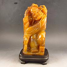 Hand Carved Chinese Natural Shoushan Stone Statue - Buddhism Luohan with Long Eyebrow