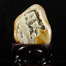 Hand Carved Chinese Natural Hetian Jade Statue w Phoenix & Peony