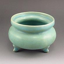 Chinese Song Dynasty Style Blue Glaze Ru kiln Porcelain 3 Legs Incense Burner