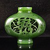 Hollow-out Carved Chinese Natural Green Hetian Jade Incense Burner