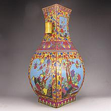 Hand-painted Chinese Gold-plating Enamels Porcelain Vase w Magpie,Plum Flower,Yong Zheng Mark