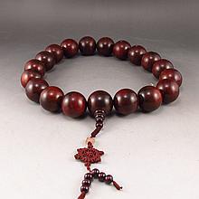 Hand-carved Chinese Natural Sandalwood Buddhist Prayer Beads Bracelet