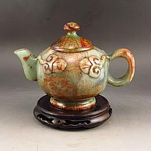 Hand Carved Chinese Natural Jade Teapot