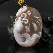Hand-carved Chinese Natural Agate Pendant - Fish & Bat