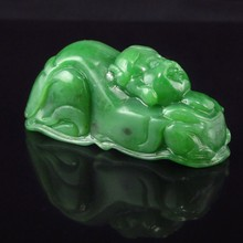 Hand-carved Chinese Natural Green Hetian Jade Pendant - Fortune Kid