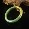 59mm Hand-carved Chinese Natural Green Hetian Jade Bracelet Carved Phoenix