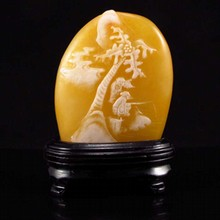 Hand-carved Chinese Shoushan Stone Statue - Sages & Coco Tree