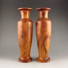 A Pair Beautiful Hand Carved Chinese Natural Huang Hua Li Wood Vase