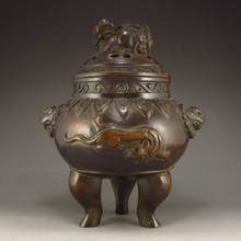 Chinese Bronze Incense Burner w Pi Xiu Dragon & Li Dragon