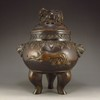 Chinese Bronze Incense Burner w Pi Xiu Dragon & Li Dragon