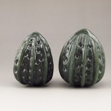 A Pair Hand-carved Chinese Natural Hetian Jade Statue - Walnuts