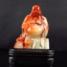 Superb Hand-carved Chinese Shoushan Stone Statue - Laughing Buddha