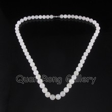 Hand-carved Chinese Natural White Hetian Jade Necklace