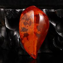 Beautiful Color Hand Carved Chinese Natural Nan Hong Agate Heart-shaped Pendant