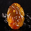 Beautiful Color Hand Carved Chinese Natural Agate Pendant - Dragonfly