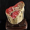 Superb Hand Carved Chinese Natural Bloodstone Stone Statue - Flower