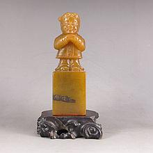 Hand Carved Chinese Natural Shoushan Stone Seal Statue w Fortune Kid
