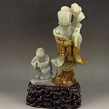 Vintage Chinese Natural Hetian Jade Statue - Lotus Flower Kwan-yin & Fortune Kid