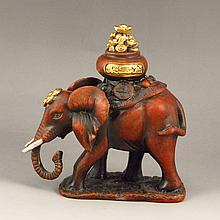 Chinese Gold-plating Red Bronze Carved Fortune Elephant