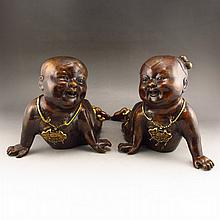 A Pair Vintage Chinese Bronze Gold-plating Statue - Fortune Kids