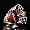 Chinese Genuine 925 Silver Inlay Natural Coral The Potala Palace Lama Ring