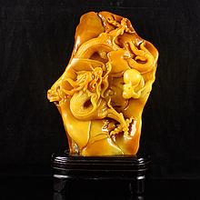 Superb Hand Carved Chinese Natural Shoushan Stone Statue - Dragon & Fire Ball
