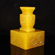 Hand Carved Chinese Natural Shoushan Stone Seal Statue w Lucky Designs