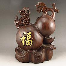 Hand-carved Chinese Natural Sandalwood Statue - Gourd & Foo Dog