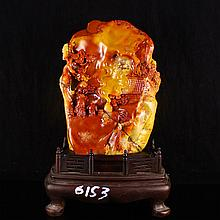 Superb Hand-carved Chinese Natural Shoushan Stone Statue - Deep Mountains Visit Friends