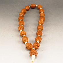 Natural Dentoliva Carved Buddhism Luohan Head Buddhist Prayer Beads Bracelet