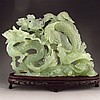 Superb Hand-carved Chinese Natural Jade Statue - Dragon & Phoenix