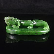 Hand-carved Chinese Natural Green Hetian Jade Pendant - Chi Dragon